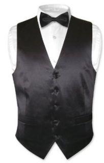 Biagio Mens Solid BLACK SILK Dress Vest Bow Tie Set for