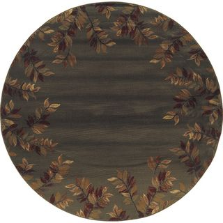 Indoor Blue green/ Brown Transitional Area Rug (78 Round)