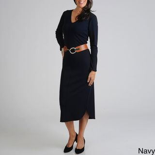 Lennie for Nina Leonard Womens Belted Dress
