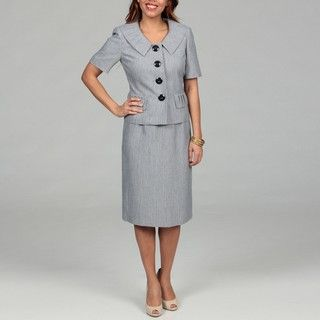 Le Suit Womens Navy Four button Skirt Suit
