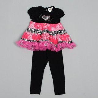 Rare Editions Toddler Girls Zebra Tutu Dress and Legging Set