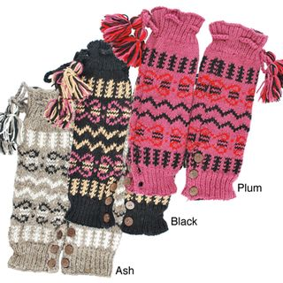Hand knit Womens Buttoned Legwarmers (Nepal)