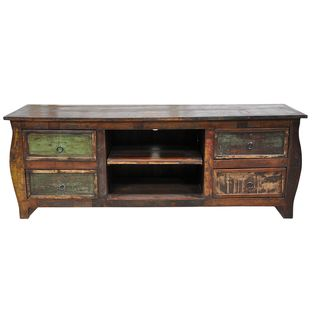 Samara 4 drawer Plasma Reclaimed Wood Multi color Entertainment Center