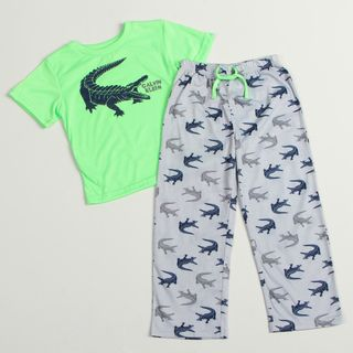 Calvin Klein Boys Green/Light blue Alligator print Pajama Set