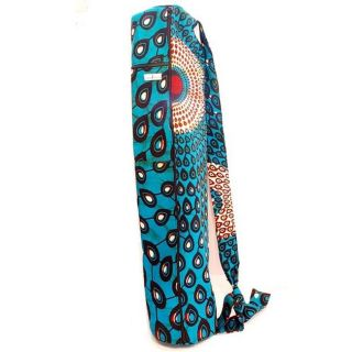 Dutch Wax Cloth Teal African Print Yoga Bag (Rwanda)