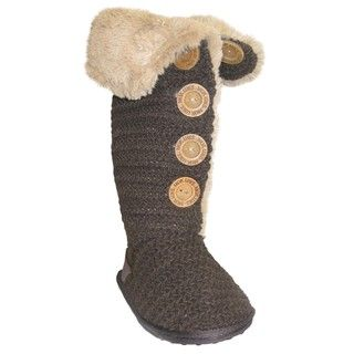 Muk Luks Womens Brown Crochet Button up Faux fur Boots