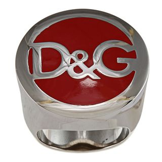 Dolce & Gabbana Stainless Steel Unisex Red Logo Ring