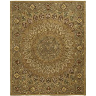 Handmade Heritage Medallion Light Brown/ Grey Wool Rug (5 x 8
