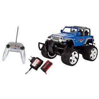 RADIOCOMMANDE TERRESTRE Voiture Jeep Wrangler Rubicon Bleue 1/16e
