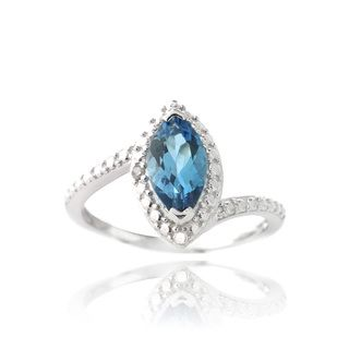 Glitzy Rocks Silver Marquise London Blue Topaz and Diamond Accent Ring