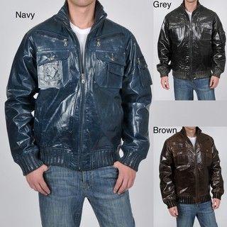 Knoles & Carter Mens High Collar Glazed Leather Bomber Jacket