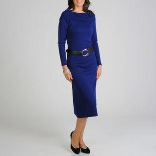 Lennie for Nina Leonard Womens Cowl Neck Belted Dress