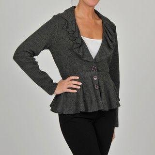 Grace Elements Womens Grey Wool Ruffle collar Peplum Jacket