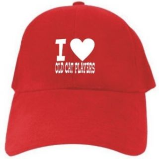 I LOVE Old Cat Players Red Baseball Cap Unisex Clothing