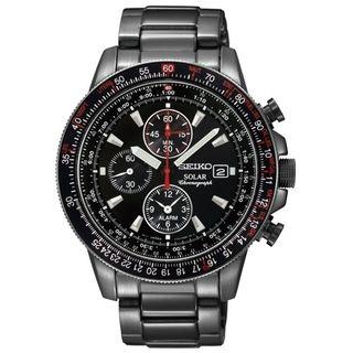 SEIKO Mens Solar Chronograph Black Ion Tachymeter Watch