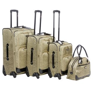 XOXO Golden Leopard 4 piece Fashion Expandable Spinner Luggage Set