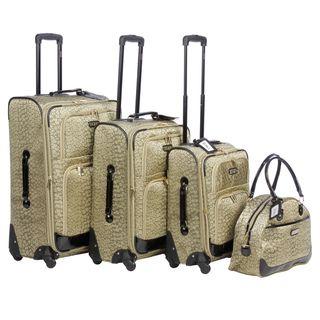 XOXO Golden Leopard 4 piece Fashion Expandable Spinner Luggage Set