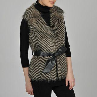 Regent Womens Chevron Faux Fur Vest