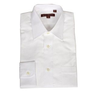 Hickey Freeman Mens White Oxford Dress Shirt