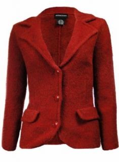 Sutton Studio Womens Wool Blend Sweater Blazer Red