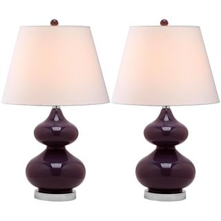 Eva Double Gourd Glass Dark Purple 1 light Table Lamps (Set of 2