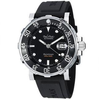 Paul Picot Mens Yachtman Black Dial Black Rubber Strap Watch