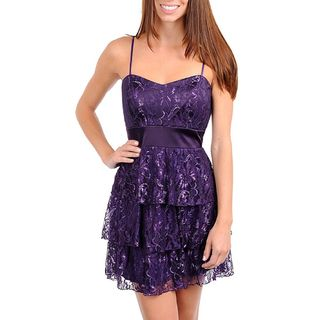 247 Frenzy Juniors Purple Lace Spaghetti Strap Dress