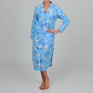 La Cera Womens Plus Size Blue Polar Bear Sleep Shirt