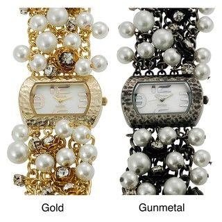 Geneva Platinum Womens Rhinestone Rose and Faux Pearl Watch