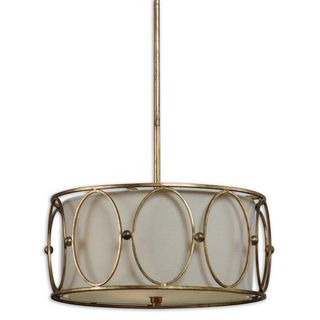 Ovala 3 light Antique Gold Leaf Drum Pendant