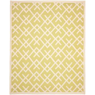 Moroccan Light Green/ Ivory Dhurrie Wool Rug (5 x 8)