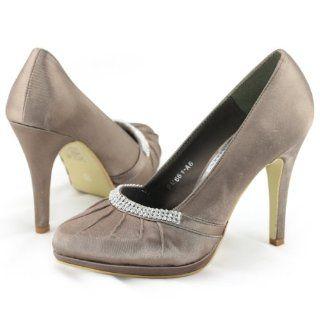 Bridal Navy Ruched Satin Platform Heels Pumps Shoes Sz Shoes