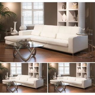 Riviera White Leather Sectional Sofa