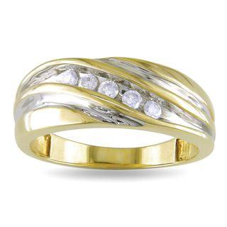 Miadora 10k Yellow Gold Mens 1/4ct TDW Diamond Ring