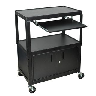 Luxor Adjustable Steel A/V Cart with Keyboard Shelf and Cabinet