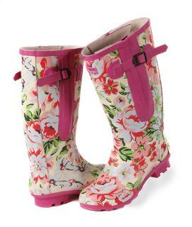 Calf Rain Boots   up to 20 inch calf   Pink Floral Design (8.5) Shoes