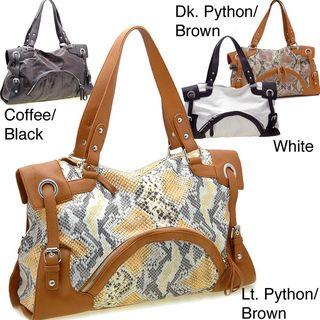 Dasein 2 Tone Python Embossed Zip Front Pocket Handbag