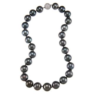 Platinum South Sea Pearl and 2 4/5ct TDW Diamond Necklace (G H, SI1