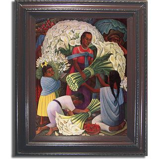 Diego Rivera Flower Vendor Framed Canvas Ar