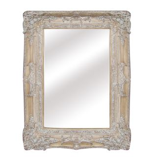 Antique Wood Traditional Rectangular 30 inch Wall Mirror