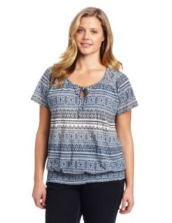 Lucky Brand Womens Plus Size Ombre Print Top Clothing