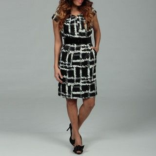 Sandra Darren Womens Black/ White Belted Dress