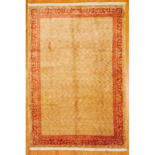 Indo Hand Knotted Tibetan Beige and Red Wool Rug (7 x 102