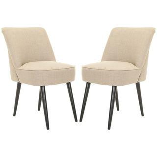 Safavieh Retro Nail head Beige Side Chairs (Set of 2)
