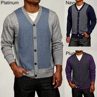 Oggi Moda Mens Colorblock Merino Wool Cardigan