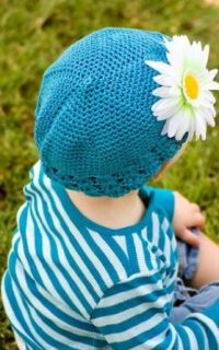 Girls My Little Noggin Turquoise crochet beanie kufi hat