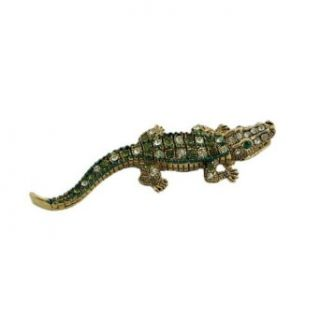Gold Alligator Pin with Crystals Clothing