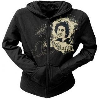 Bob Marley   Ink Blot Ladies Zip Up Hoodie Clothing