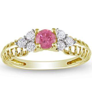 Miadora 14k Yellow Gold 1/2ct TDW Pink and White Diamond Ring (H I, I1