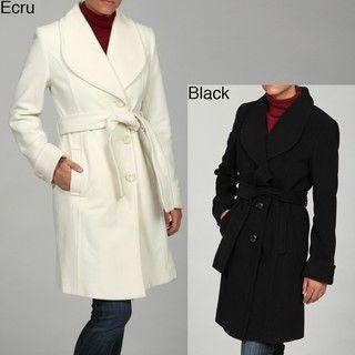 Kenneth Cole Womens Belted Wool Coat FINAL SALE